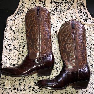 Leather western eel skin boots. Men's or women's